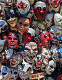 Frightening Masks. Crazy and scary masks for sale at the state fair stock photo