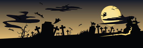 Frightening night landscape with cemetery and cast. Frightening night landscape with cemetery, castle, bat, witch and the moon Stock Photo