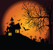 Frightening night landscape. Frightening halloween night landscape with tree, cemetery and ghost house Royalty Free Stock Photography