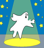 Frightful ghost. Ghost on stage or under the spotlight - vector Royalty Free Stock Photo