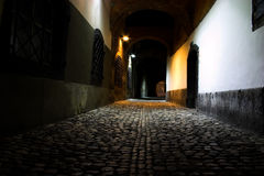 Frightful medieval night road Royalty Free Stock Photos