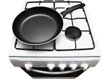Frigideira no fogão de gás Fotografia de Stock