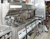 Frigideira profunda com na cozinha do restaurante Fotografia de Stock Royalty Free