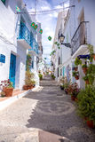 Frigiliana blauwe straat Stock Foto