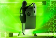 frigorifero aperto della donna 3d per eliminare l'illustrazione della mela Immagine Stock
