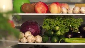Frigorifero pieno di alimento sano fresco Mo lento archivi video