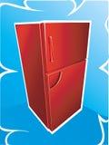 Frigorifero rosso Immagini Stock Libere da Diritti