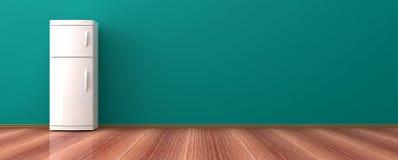 Frigorifero su un pavimento di legno illustrazione 3D Fotografia Stock Libera da Diritti