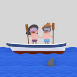 Frigthened kids on a boat looking at shark Stock Image