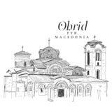 Frihandsdigital teckning av kyrkan av Panteleimon, Ohrid, mor stock illustrationer