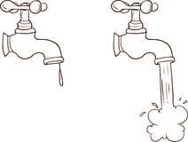 Frihandsdragen rinnande vattenkran för tecknad film royaltyfri illustrationer