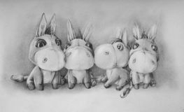 Frihandsteckning av åsnor med en blyertspenna stock illustrationer