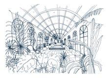 Frihandsteckning av inre av växthuset mycket av tropiska växter Monokrom skissar av burk med exotiska träd Fotografering för Bildbyråer