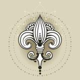 Frihandsteckning av liljan i östlig stil Royaltyfria Bilder