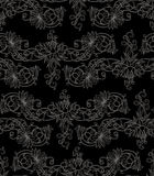 Frihandsteckning av liljor seamless modell Royaltyfri Fotografi