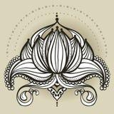 Frihandsteckning av lotusblomma i östlig stil Royaltyfri Foto