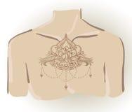Frihandsteckning av lotusblommatatueringen på bröstkorg Arkivbilder