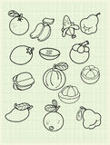 Frihandsteckningsfrukt på papper. Royaltyfri Fotografi
