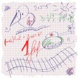 Frihandsteckningsskolascetch på ett ark av exerc Royaltyfri Foto