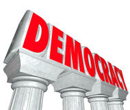 Frihet för kolonner för bokstäver för demokratiord 3d väljer regeringen royaltyfri illustrationer