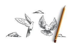 Frihet fred, par, flyg, fågelbegrepp Hand dragen isolerad vektor vektor illustrationer