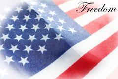 Frihet på amerikanska flaggan med den högkvalitativa vita ramen Royaltyfria Bilder