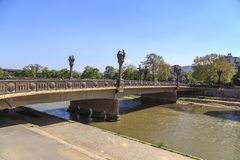 Frihetsbro i Skopje Royaltyfria Foton