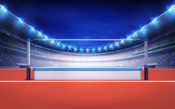 Friidrottstadion med höjdhoppstolpen Fotografering för Bildbyråer
