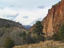 Frijoles Canyon at Bandelier National Monument. The monument preserves the homes and territory of the Ancestral Puebloans of a later era in the Southwest. Most stock photos
