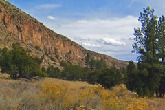 Frijoles Canyon at Bandelier National Monument. The monument preserves the homes and territory of the Ancestral Puebloans of a later era in the Southwest. Most stock photography