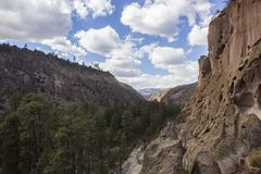 Frijoles Canyon, Bandelier National Monument. A view of Frijoles Canyon in Bandelier National Monument, Los Alamos, New Mexico Stock Image