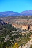 Frijoles canyon at bandelier nm. Many native american anasazi ruins are in bandelier national monument, the people were ancestors of modern pueblo native Stock Photo