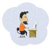 Friki del adicto al trabajo de la Edad Media que se sienta en el escritorio del ordenador ilustración del vector