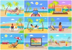 Frilans- arbetare på Sunny Tropical Beaches Set stock illustrationer
