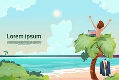 Frilans- avlägsen arbetsplatspalmträd för man genom att använda sikt för semester för bärbar datorstrandsommar tropisk royaltyfri illustrationer