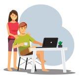 Frilans- bärare eller formgivare som hemma arbetar, vektortecken stock illustrationer
