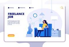 Frilans- begrepp Flickafreelancer på soffaarbete med datorhemmet Landa sidavektordesign stock illustrationer