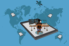 Frilans- begrepp som är globalt, världskarta, vektor Arkivfoton