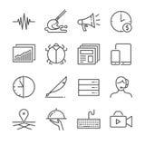 Frilans- jobblinje symbolsuppsättning 2 Inklusive tillfredsställer symbolerna som annonserar, deltids-, mobilt, service och mer stock illustrationer