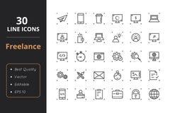 30 frilans- linje symboler vektor illustrationer