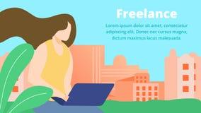 Frilans- online-jobb, flickakonstnär Work med bärbara datorn royaltyfri illustrationer