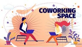 Frilans- online-jobb i Coworking utrymme, bärare royaltyfri illustrationer