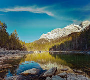 Frillensee lake and Zugspitze - German mountain Stock Image
