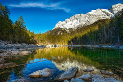 Frillensee lake  and Zugspitze - the highest Stock Photos