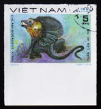 Frillneck Lizard with the description Chlamydosaurus kingi from the series Reptiles, circa 1983. MOSCOW, RUSSIA - FEBRUARY 12, 2017: A Stamp printed in VIETNAM Stock Photo