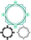 Frilly aqua circle border, with bonus variations stock images