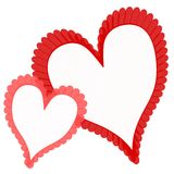 Frilly Red Pink Valentine's Day Hearts stock images