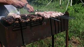 Frilufts- grillfest, saftigt kött på gallret varma kol och dunster lager videofilmer