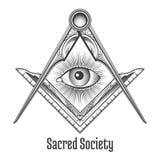 Frimurar- fyrkant- och kompasssymbol royaltyfri illustrationer
