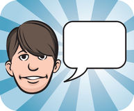 Fringe face with speech bubble. Vector illustration of Fringe face with speech bubble Royalty Free Stock Image